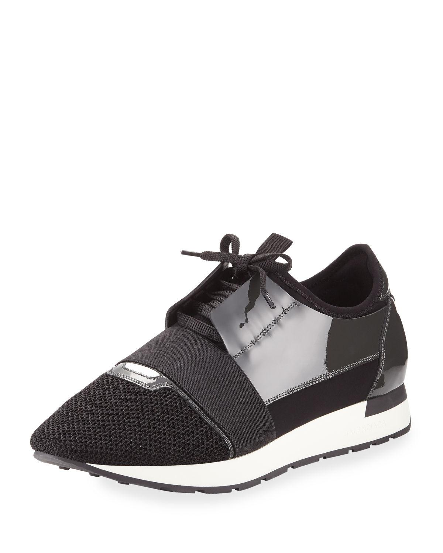 balenciaga men 39 s patent race runner mesh leather sneaker in black for men lyst. Black Bedroom Furniture Sets. Home Design Ideas
