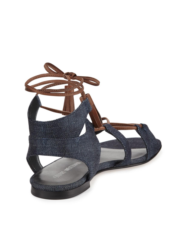 Stuart Weitzman Romanflat Denim Gladiator Sandals In Blue