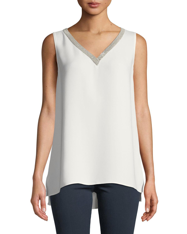 01d16d0ab9f28 Lafayette 148 New York. Women s White Theora Double-georgette Silk Blouse
