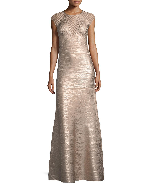 Lyst - Hervé Léger Cap-sleeve Geometric Illusion Bandage Evening Gown
