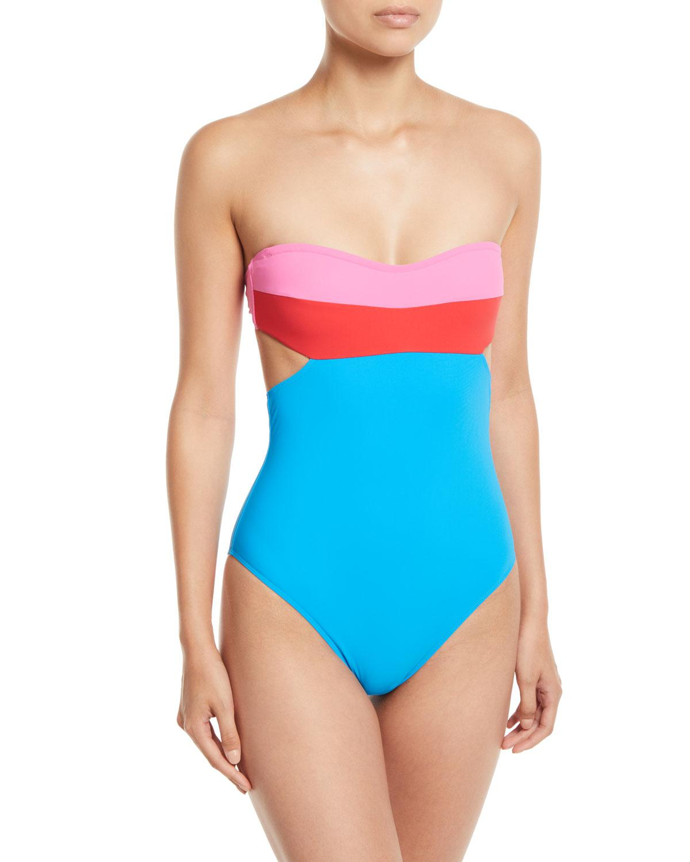 09e4459afb Diane von Furstenberg. Women's Blue Christye Colorblock Bandeau One-piece  Swimsuit