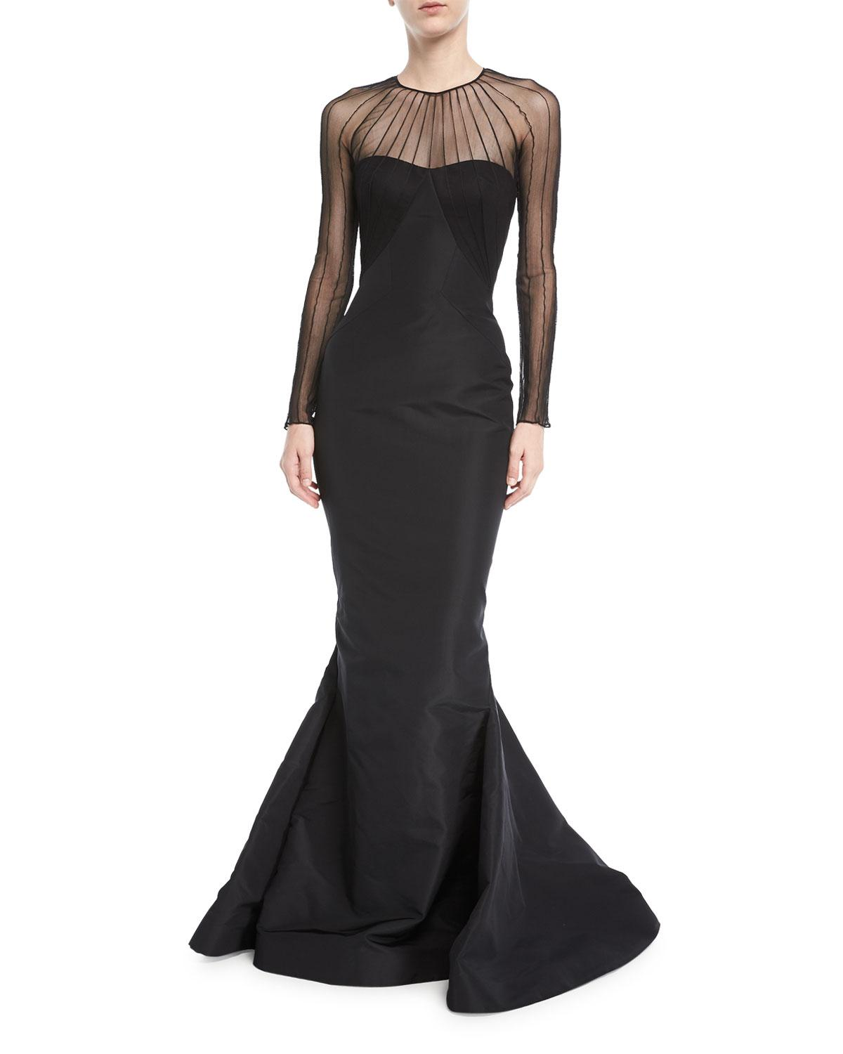Lyst - Zac Posen Tulle Illusion Long-sleeve Silk Faille Trumpet ...