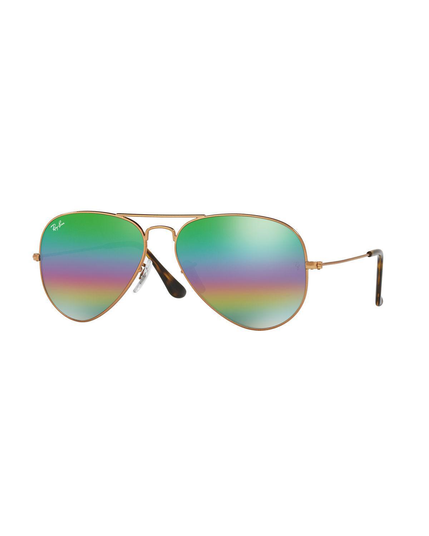 46b4371b8f Lyst - Ray-ban Men s Metal Rainbow Flash Aviator Sunglasses in Green ...