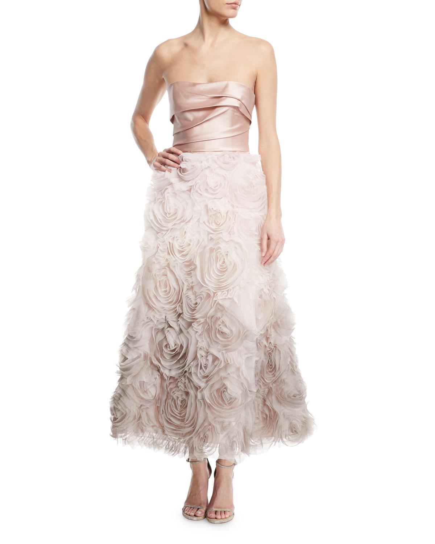 da62b1fafb0d Marchesa notte Ombré Textured Tea Dress W/ Draped Bodice in Pink - Lyst