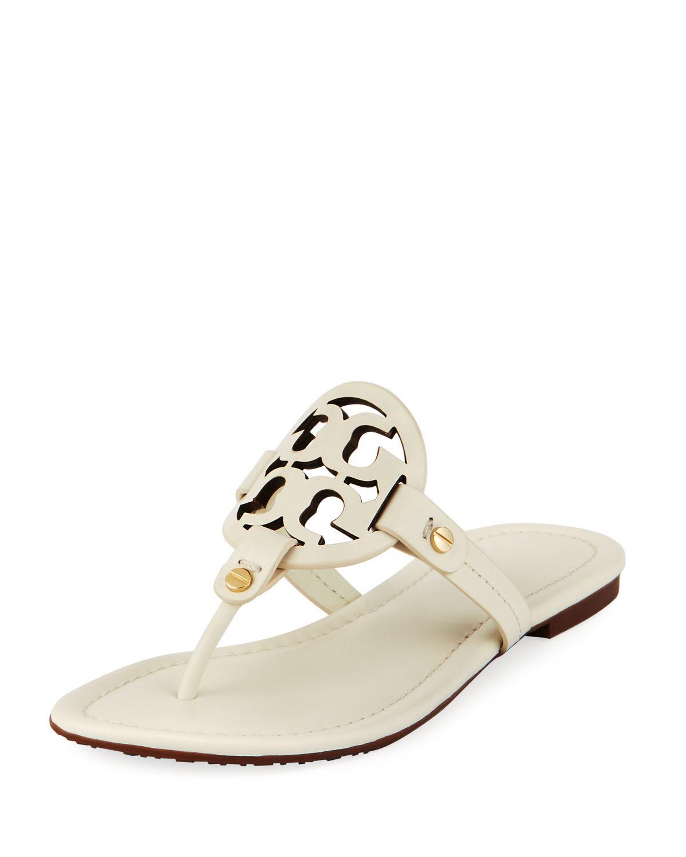 Lyst - Tory Burch Miller Leather Logo Flat Slide Sandals ...