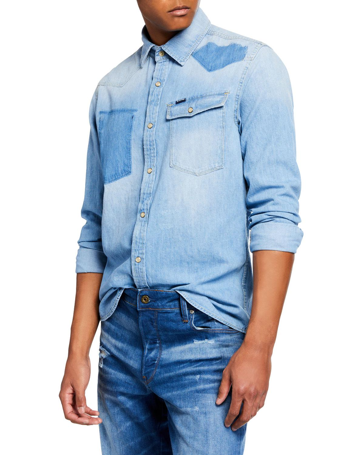 4c1647477f9a85 Lyst - G-Star RAW Men's 3301 Light Vintage Aged Denim Shirt in Blue ...