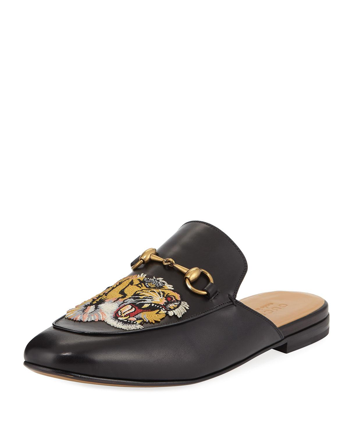 24e22f0b56c Lyst - Gucci Kings Tiger Leather Mule in Black for Men - Save 57%