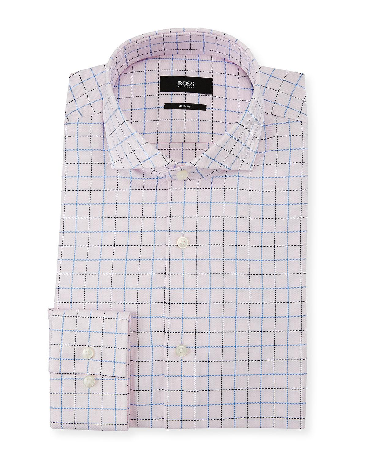 Lyst Boss Mens Slim Fit Box Cotton Dress Shirt In Pink For Men