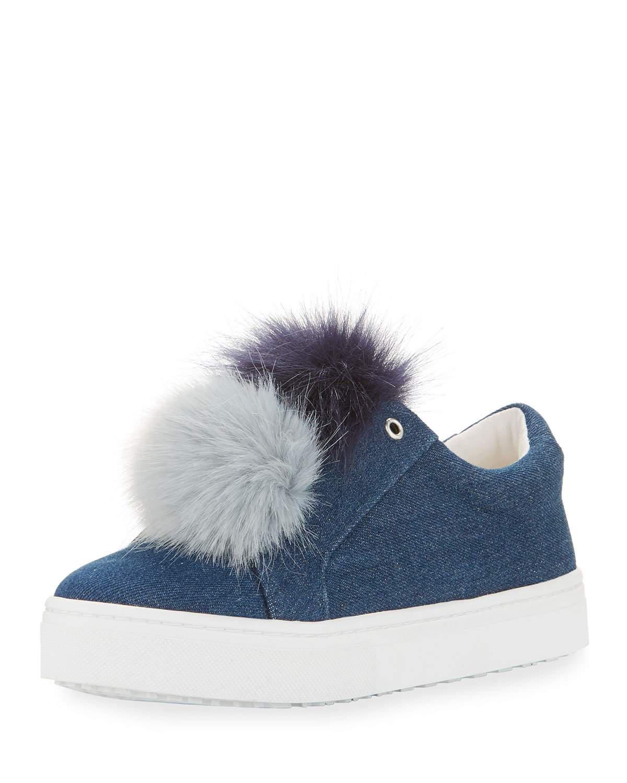 95247c234407b Lyst - Sam Edelman Leya Denim Pompom Sneaker in Blue