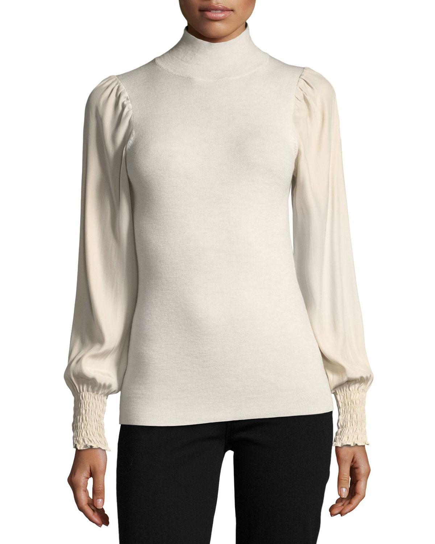 Rebecca taylor Turtleneck Merino Wool Pullover Sweater in Metallic ...