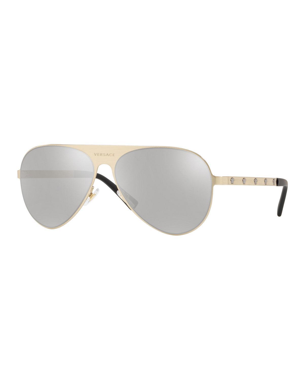b76530c602 Lyst - Versace Men s Mirrored Medusa Head Aviator Sunglasses in ...