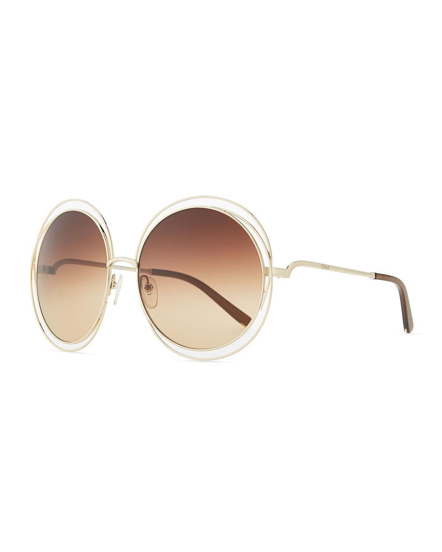 6Lyst Metallic Round Chloé In Carlina Sunglasses Save Wire Metal zpLGjqSMVU
