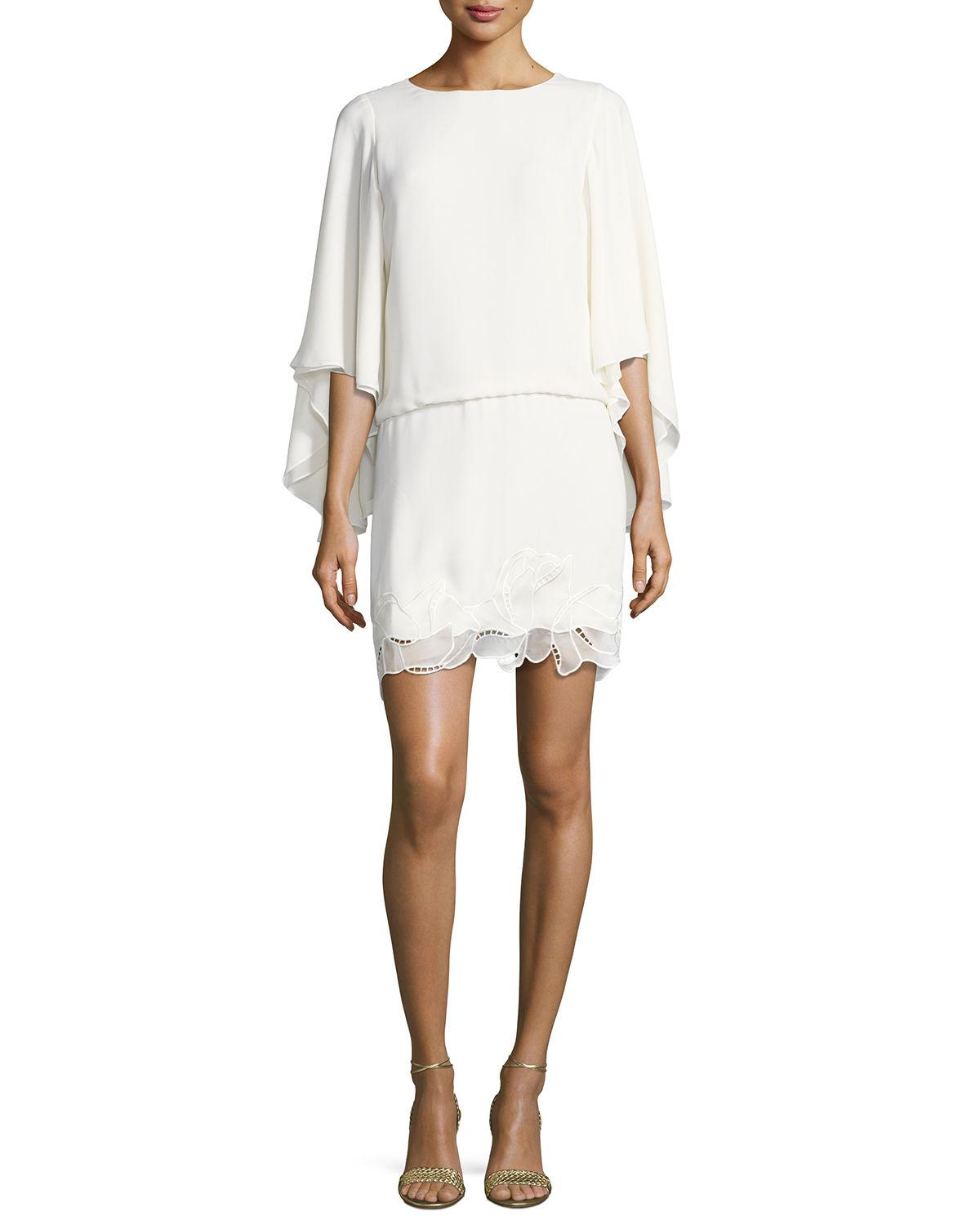 Lyst - Halston Heritage Flowy Sleeve Boat-neck Embroidered Blouson ...