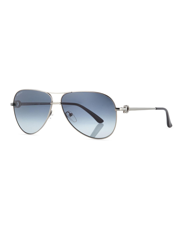 9f29bf3aa45 Ferragamo Men s Signature Metal Aviator Sunglasses in Gray for Men ...