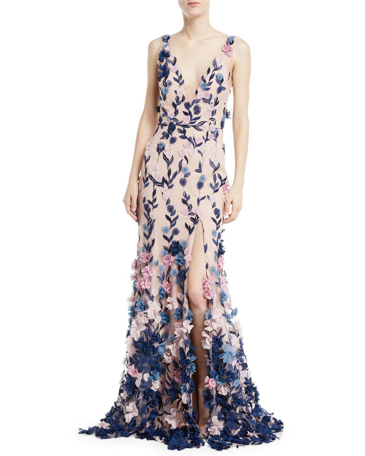 44c6eafe Marchesa notte Embroidered 3d Chiffon Flower Trumpet Gown in Pink - Lyst