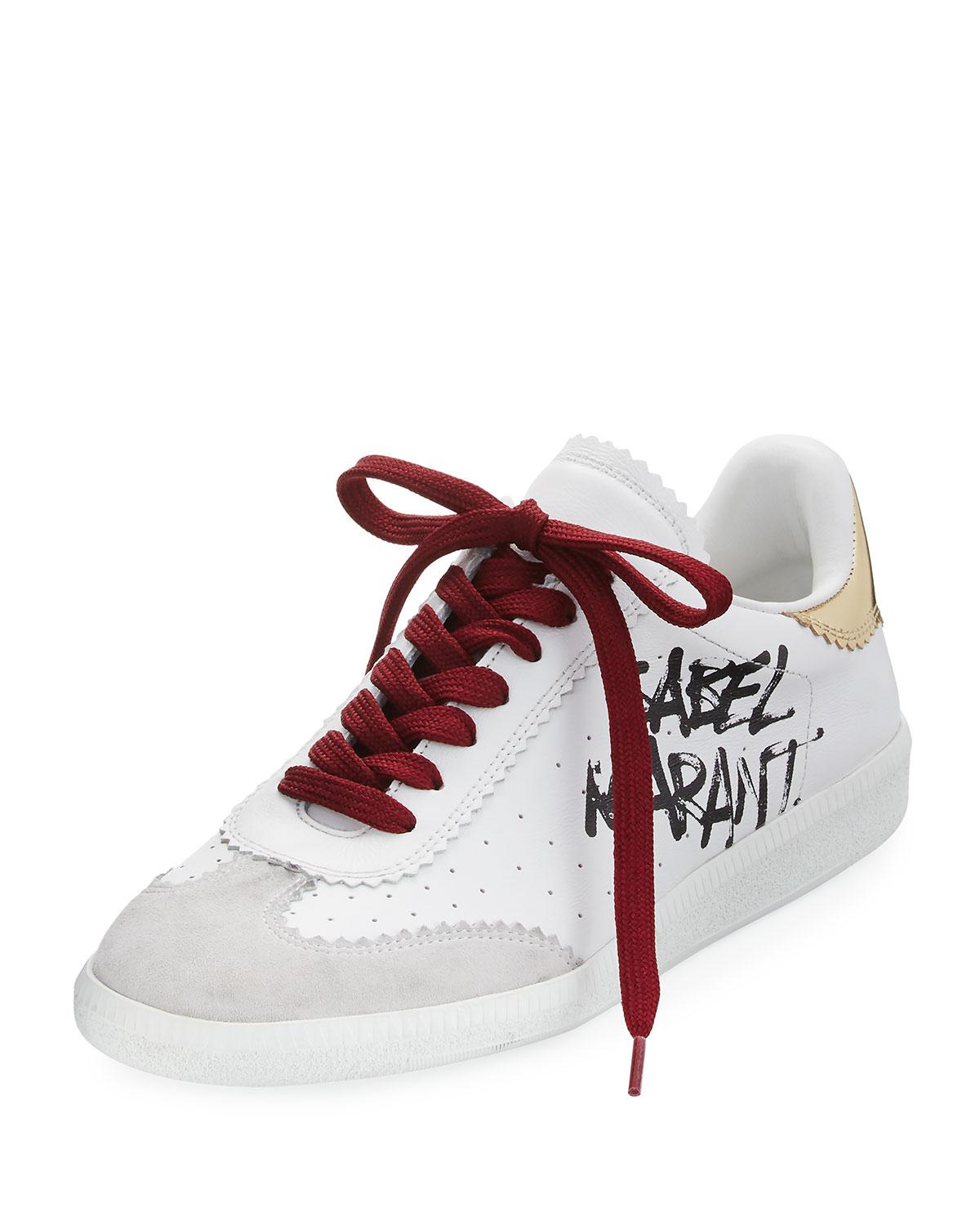 Bryce Logo-print Suede-trimmed Leather Sneakers - White Isabel Marant 85Y0DIoa2P