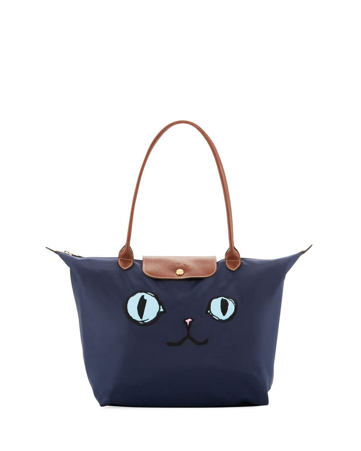 faa97c6c85aa Lyst - Longchamp Le Pliage Miaou Cat Large Shoulder Tote Bag in Blue