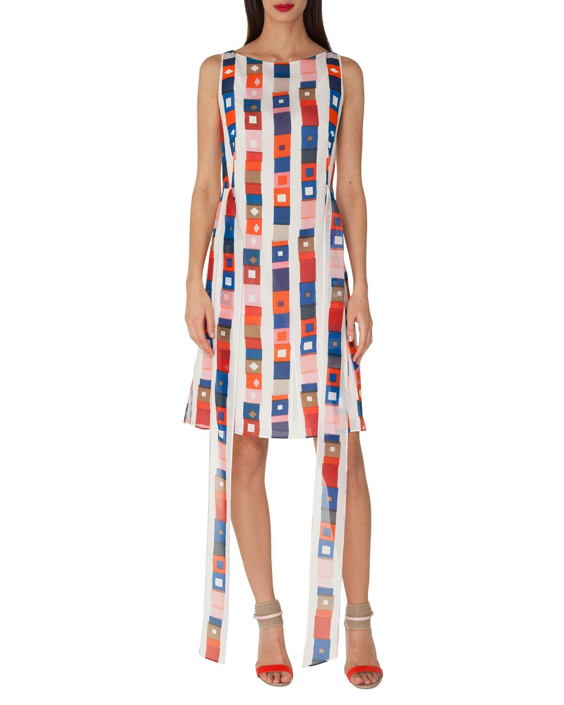 e64311aba7 Lyst - Akris Sleeveless Super-stripe Photo-print Silk Carwash Dress