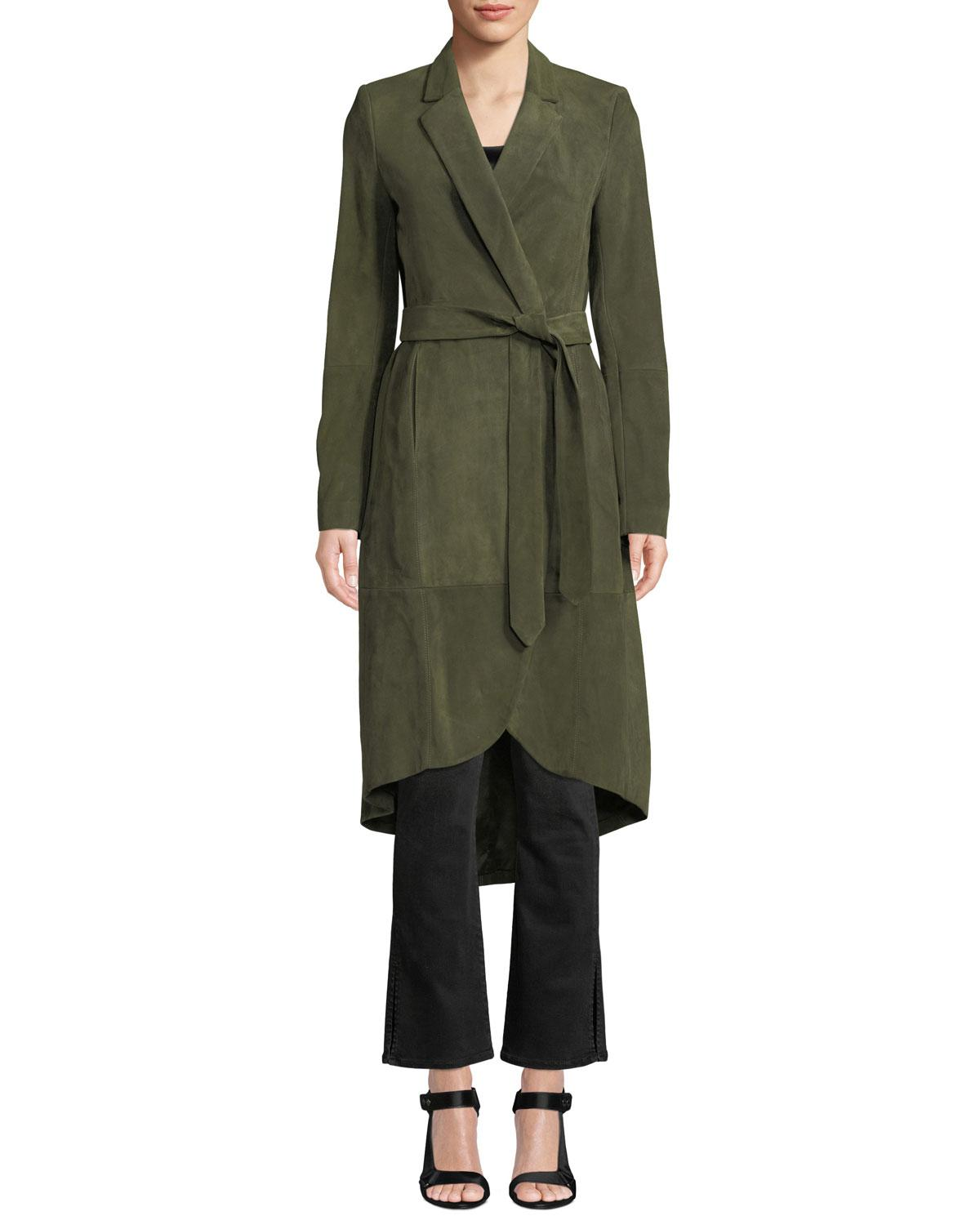 dcf486332df9 Lyst - Alice + Olivia Karley Notched-collar Suede Wrap Coat in Green