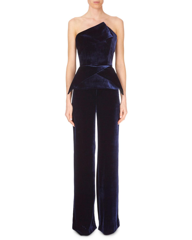 2992f721bdd Roland Mouret. Women s Blue Strapless Peplum Straight-leg Velvet Jumpsuit