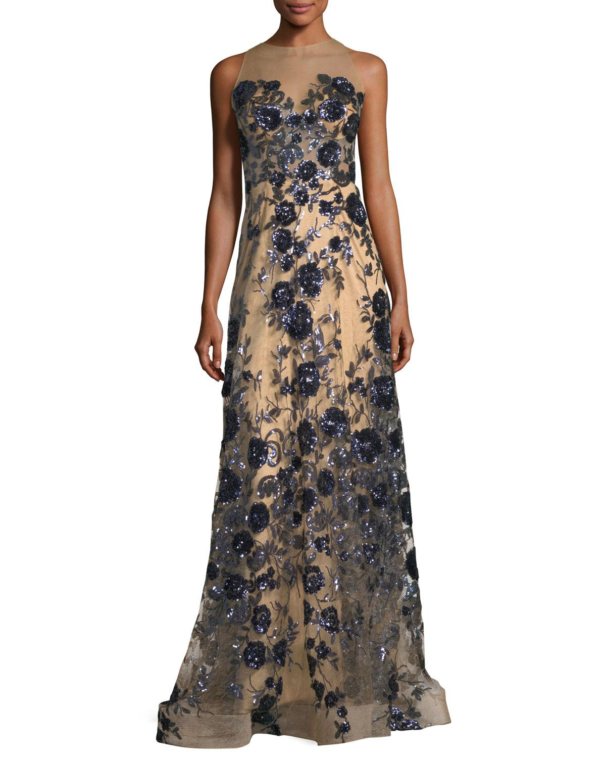 Lyst jovani floral bustier illusion long evening gown gallery previously sold at neiman marcus junglespirit Images