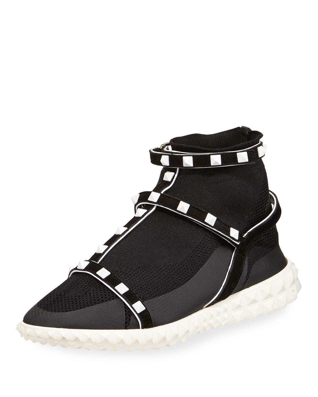 new concept 7a466 8d13a Blackwhite Valentino In Black Bodytech Sneaker Rockstud Lyst FIqwF