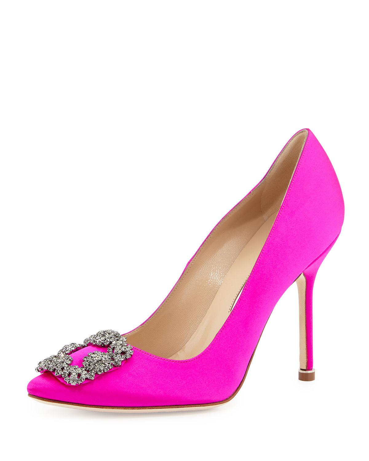 f65da210f984 Manolo Blahnik. Women s Pink Hangisi Crystal-buckle Satin 105mm Pump