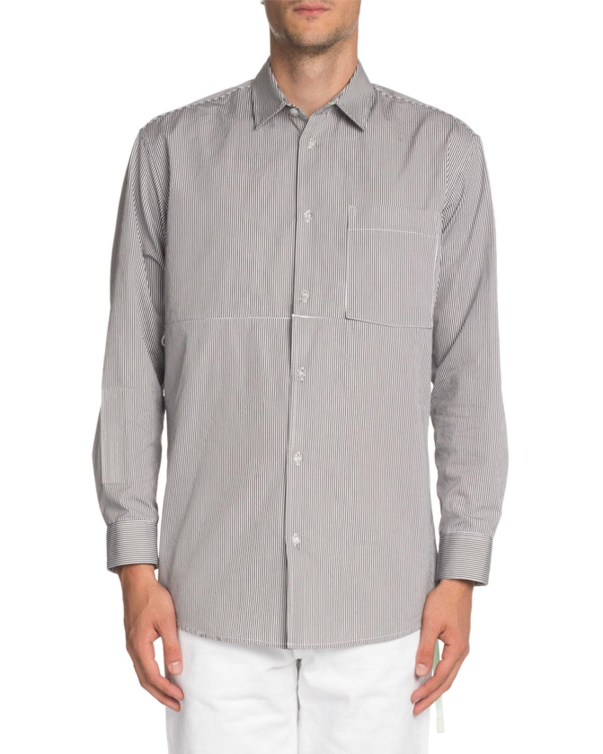 2cd1327d6715 Lyst - Off-White c o Virgil Abloh Striped Convertible Sport Shirt in ...