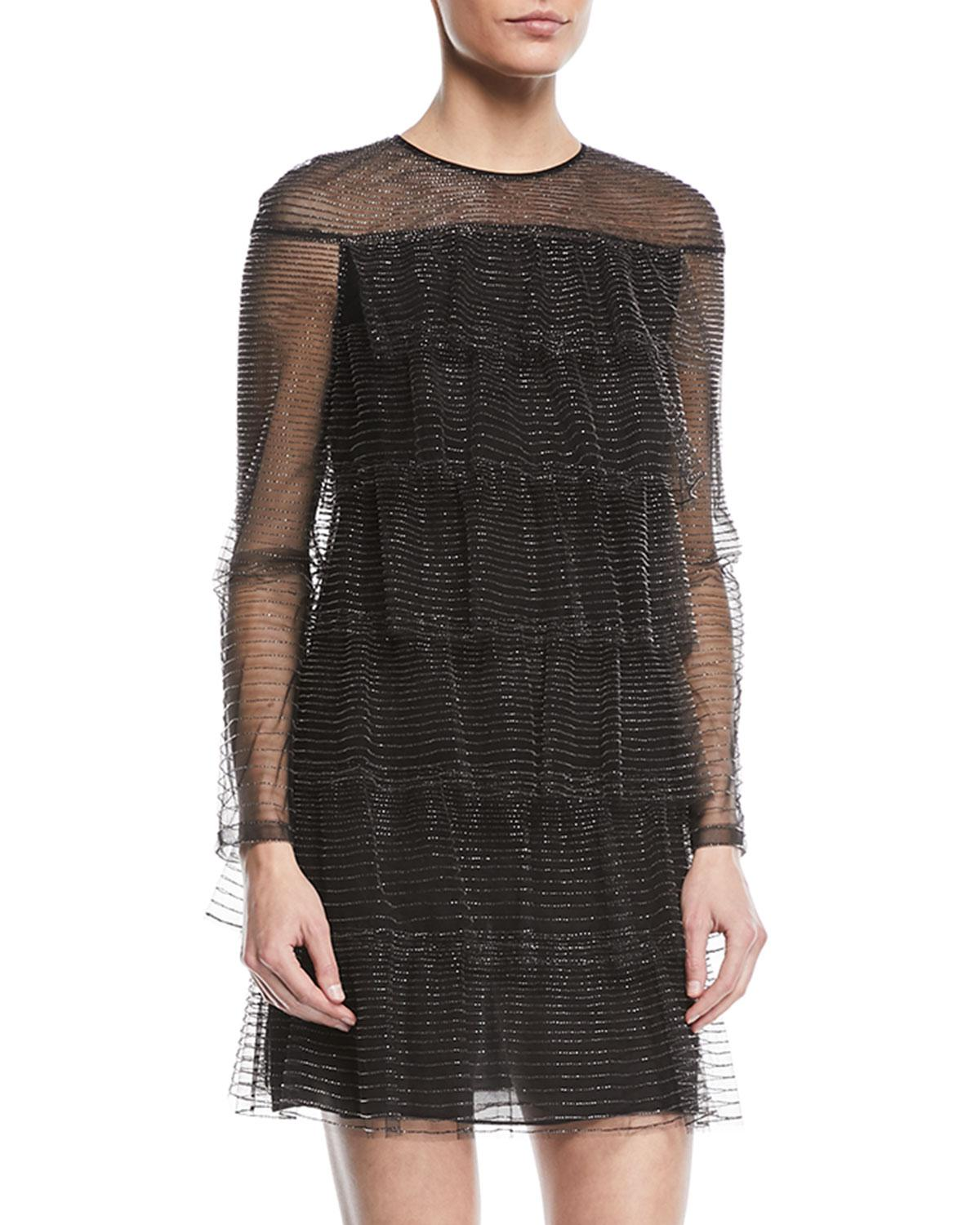 1d22ba3dff Valentino - Black Long-sleeve Tulle Illusion Multitiered Dress - Lyst. View  fullscreen