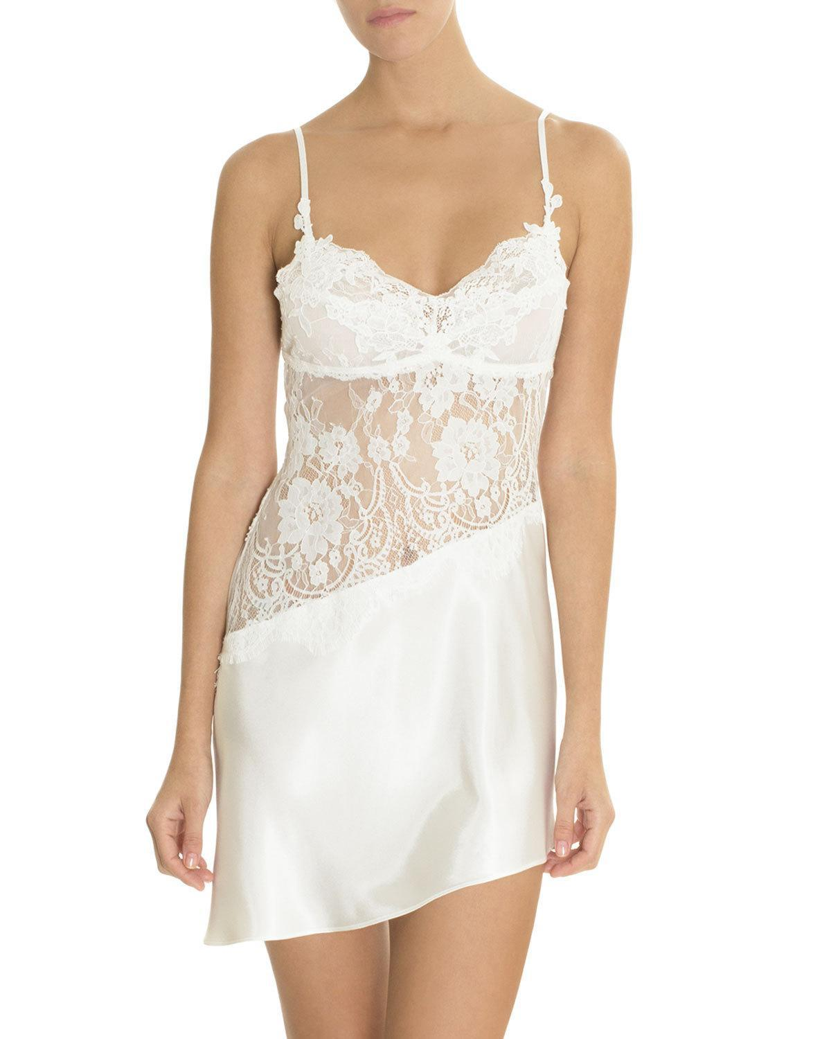 Lyst - Jonquil Carina Lace-inset Satin Chemise in White 3561f51ad