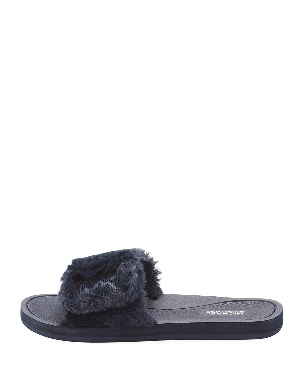 4fcf887269ff Lyst - Michael Michael Kors Mk Faux-fur Flat Slide Sandal in Gray