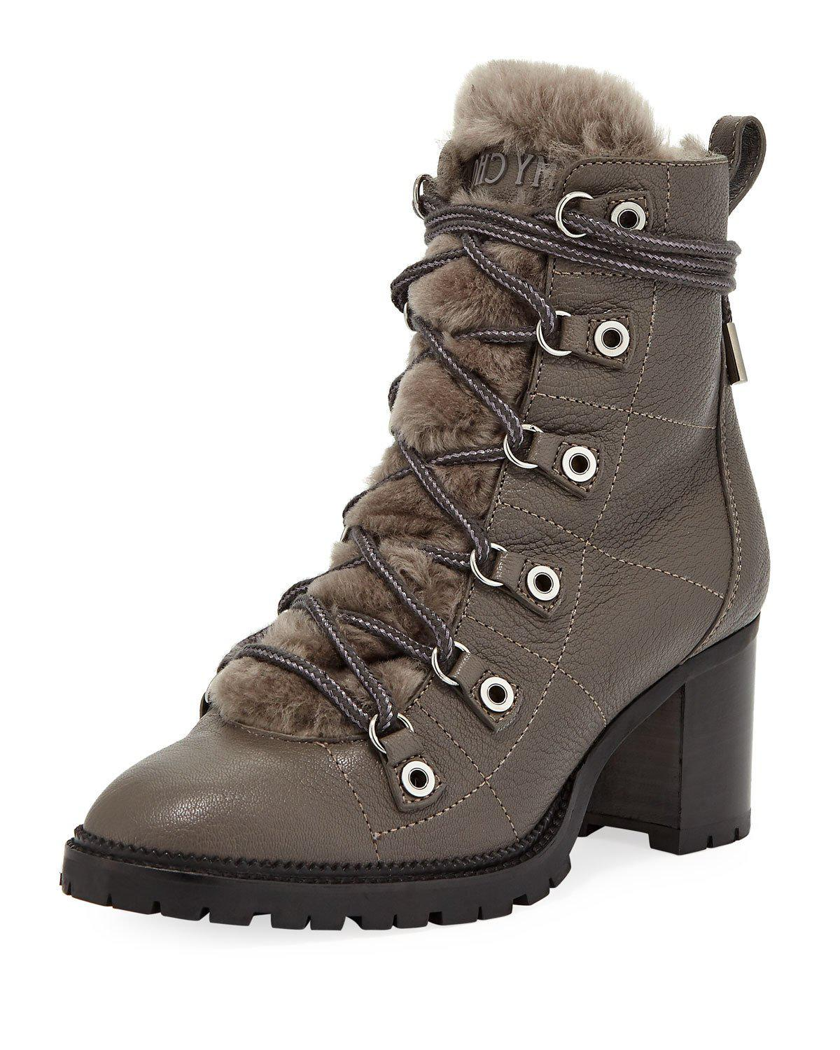d4bd947a1fb Lyst - Jimmy Choo Hillary Shearling Fur-lined Hiker Booties in Gray