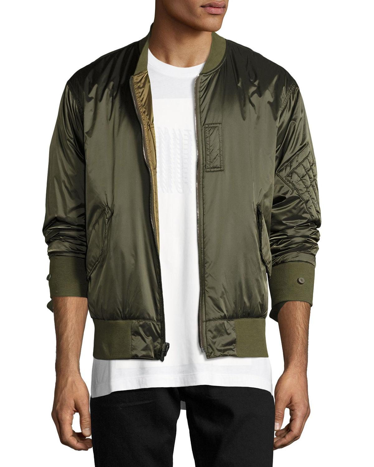 1967ecb97 Lyst - Helmut Lang Reversible Satin Bomber Jacket in Green for Men