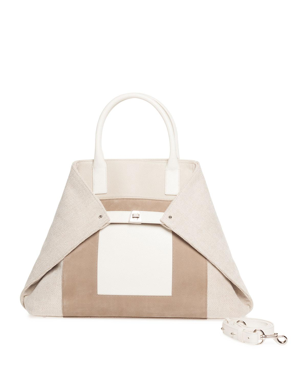 Lyst - Akris Ai Medium Canvas   Leather Top-handle Bag in Natural 6bd9808d37