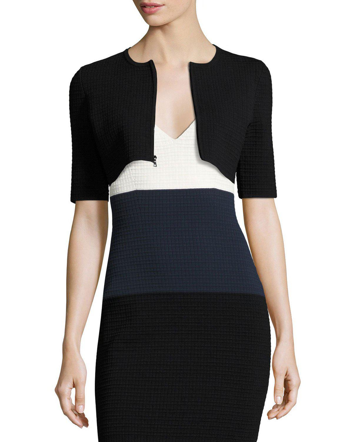 c8df4b4d58 Lyst - Narciso Rodriguez Waffle Zip-front Cropped Cardigan in Black
