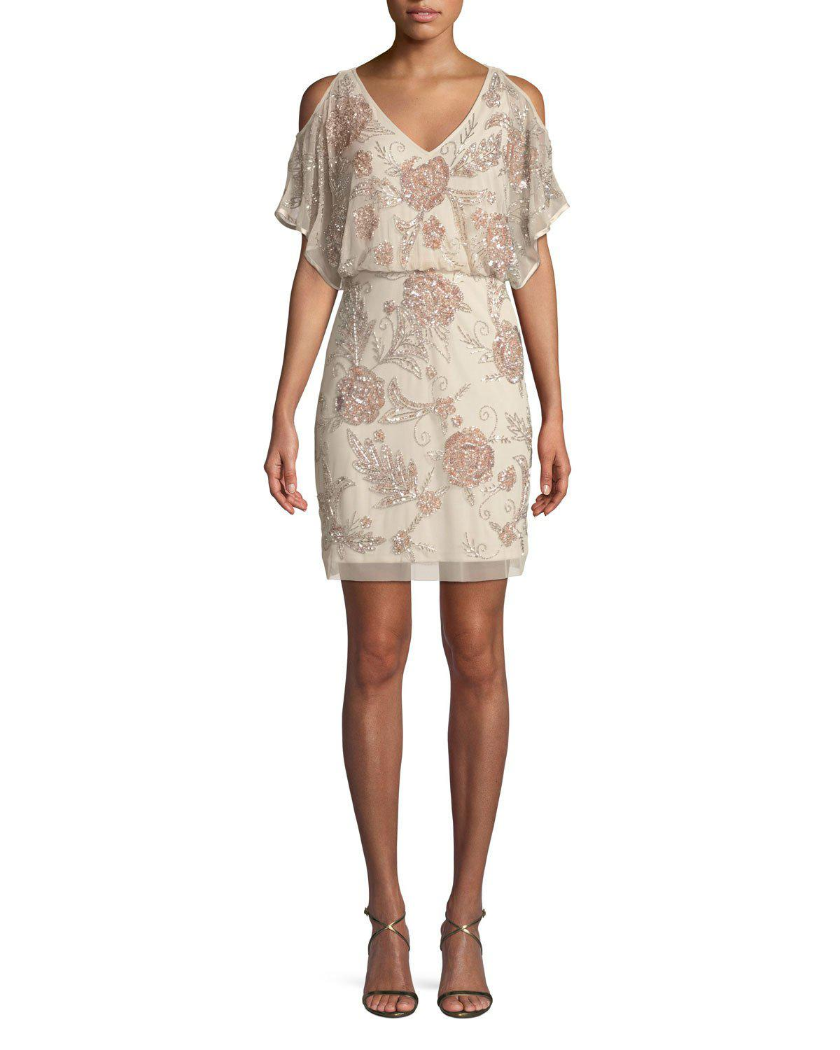 f1b8d882006 Lyst - Aidan Mattox Slit-sleeve Beaded Blouson Dress in Natural