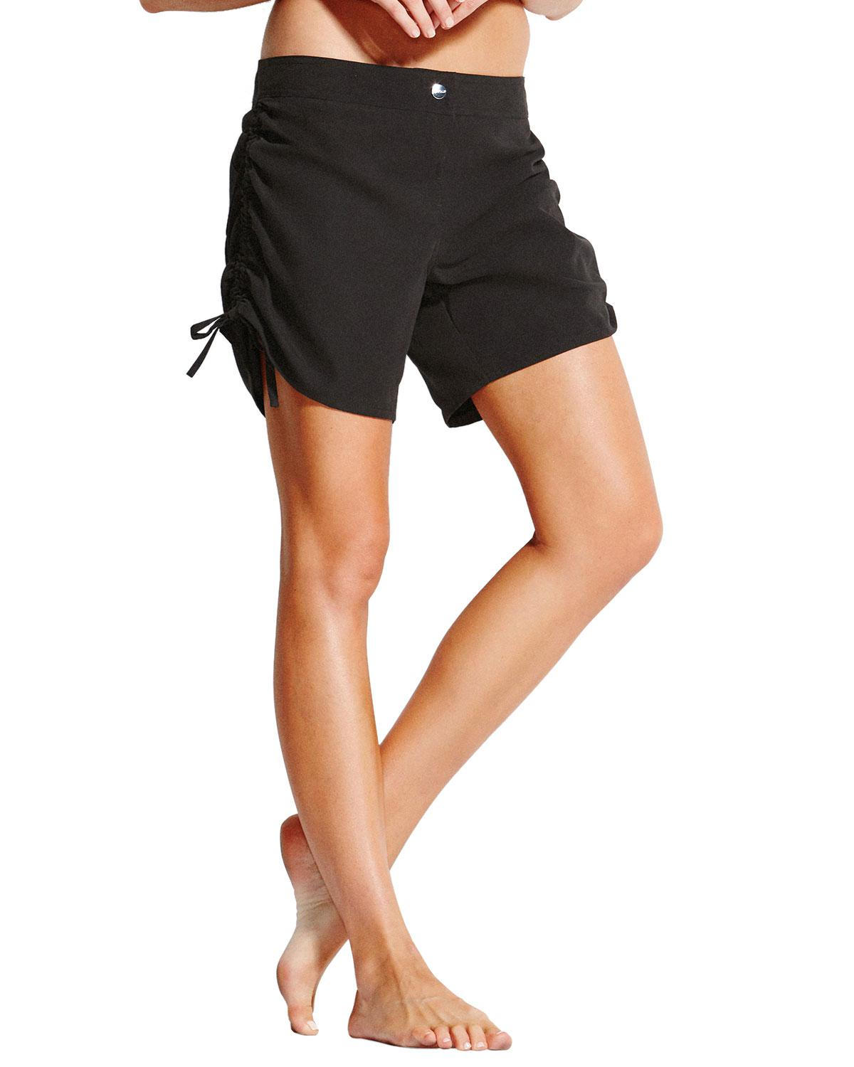 4c5f72f0ee Lyst - Seafolly Ruched Drawstring Board Shorts in Black