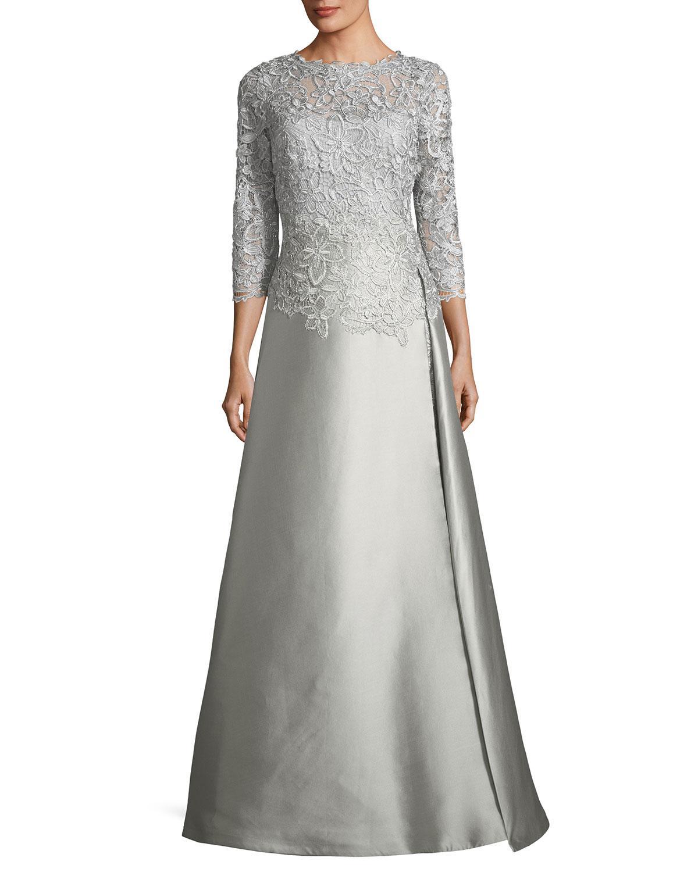 e49c76d02521f Lyst - Teri Jon Floral-lace 3/4-sleeve Gown in Metallic