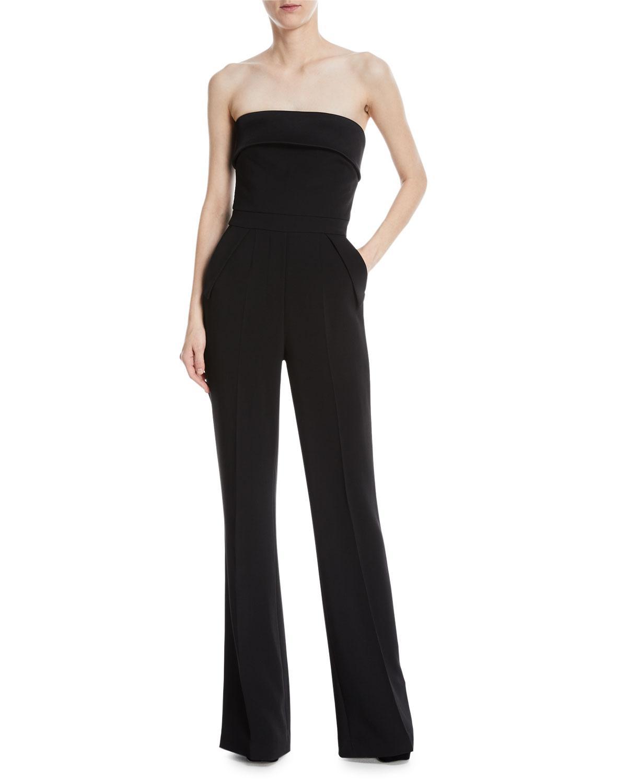 adfa6e8b7eec Elie Saab. Women s Black Strapless Wide-leg Crepe Jumpsuit.  3