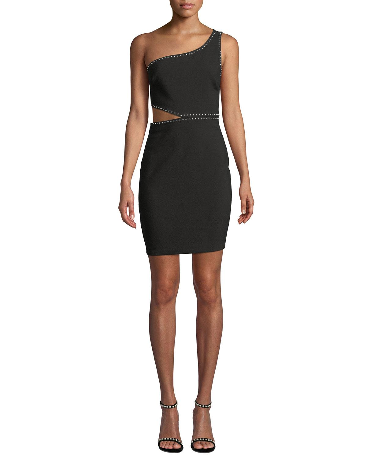 0b7165b5785eaa Likely - Black Portia Studded One-shoulder Cutout Cocktail Dress - Lyst.  View fullscreen