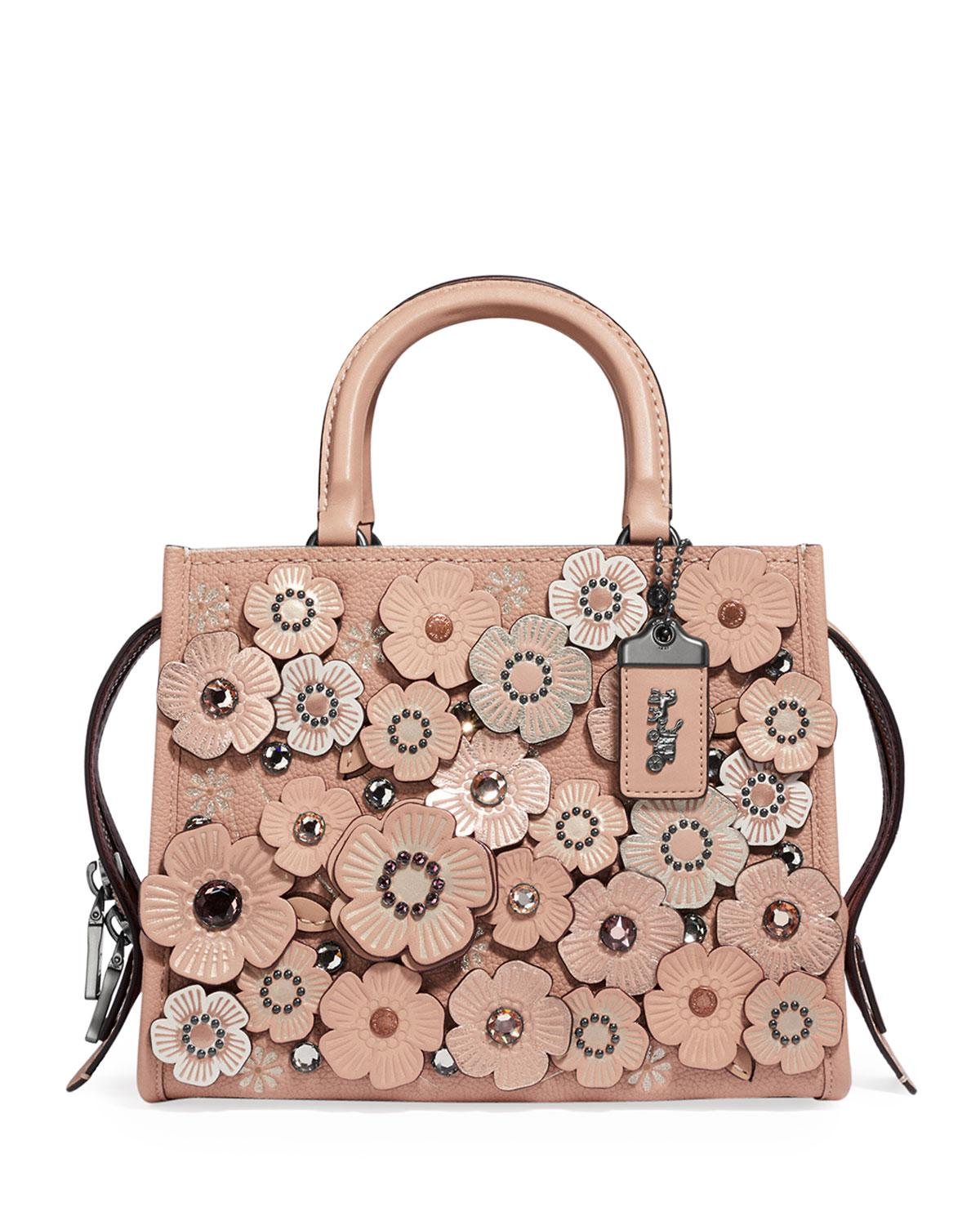 Lyst - COACH Rogue 25 Crystal Tea Rose Tote Bag in Pink f9ad7b9539