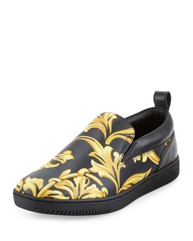 Versace Barocco Men S Leather Skate Shoe In Black For Men