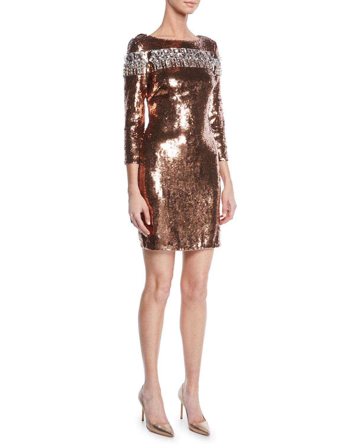 1c5a55d9953 Lyst - Aidan Mattox Embellished Sequin Cocktail Dress in Brown ...