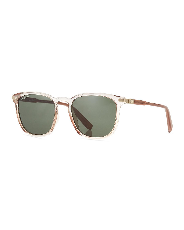 b3c3bf09bfd Lyst - Ferragamo Men s Thin Square Plastic Sunglasses for Men