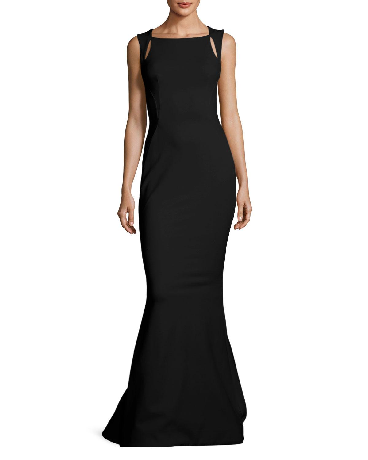 Lyst - Zac Posen Sleeveless Cutout-shoulder Bondage Jersey Evening ...
