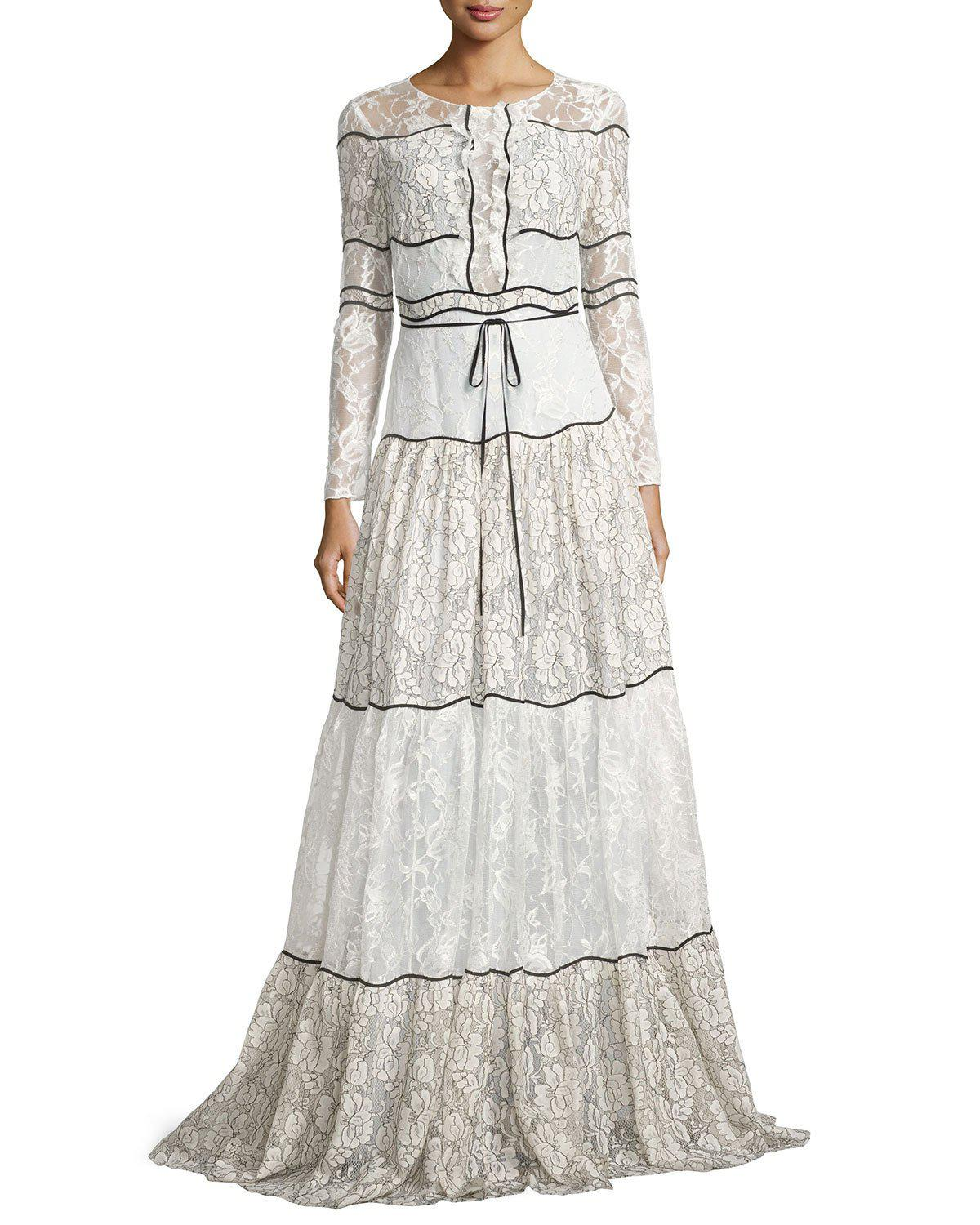 87bb5e09c468 Sachin & Babi Sara Long-sleeve Paneled Lace Gown in White - Lyst