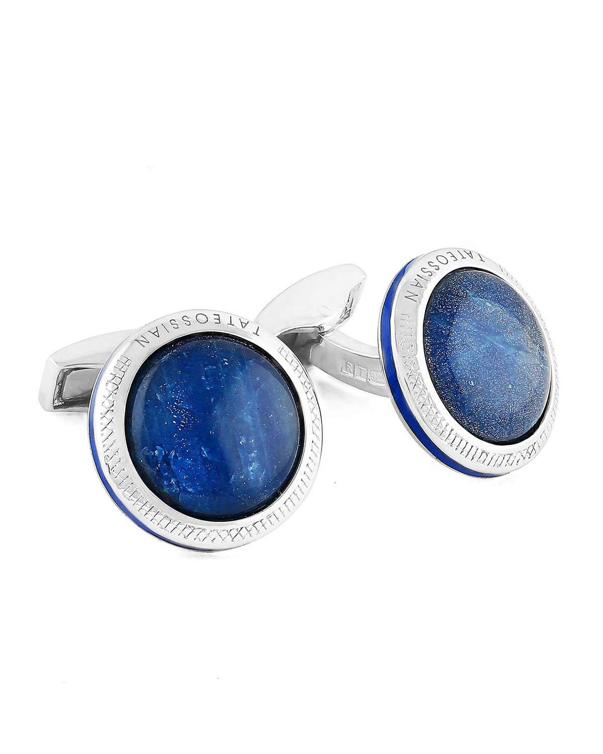 Tateossian Limited Edition Sapphire & Sterling Silver Cuff Links and Stud Set KPOHk