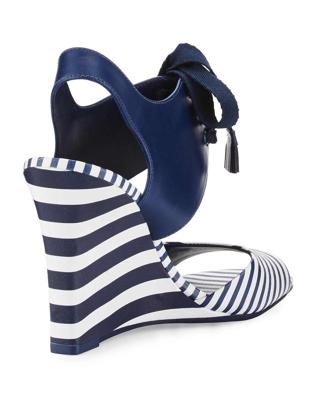 1a0e465f879 Lyst - Tory Burch Maritime Striped Wedge Sandal in Blue
