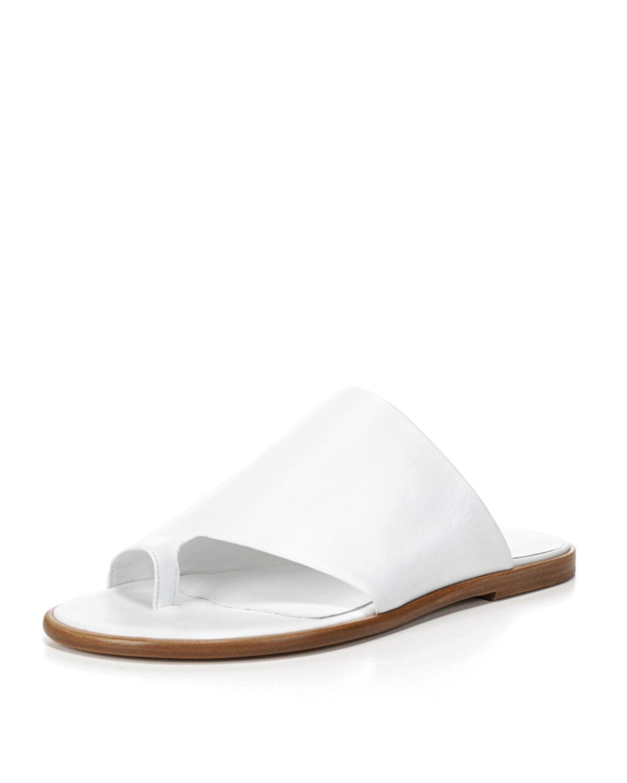 65ab8fce317e Lyst - Vince Edris Flat Leather Slide Sandal in White