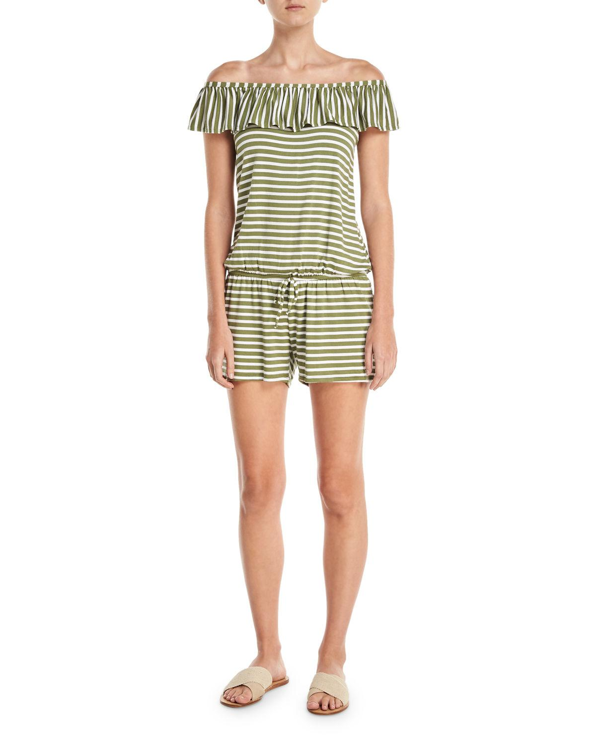 a2830da3c12d Lyst - Splendid Striped Coverup Romper in Green